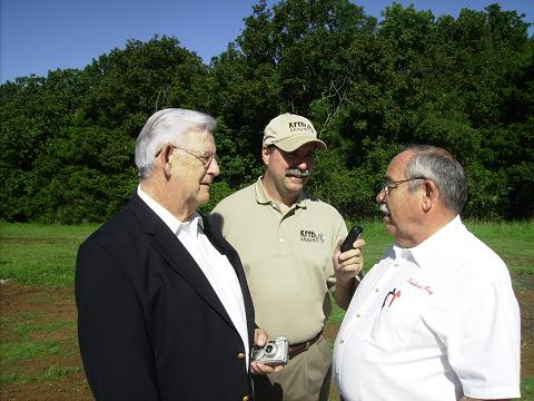 Helipad Project Coordinator Rawlins Collerain Bob Connell and Mayor Tom Schueren