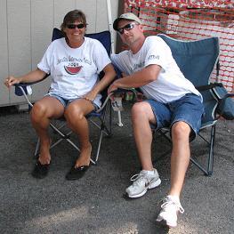 Rita and Allen Landers taking a break