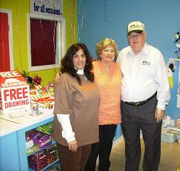 Paulette Henson (Owner of Candy Bouquet of Clinton)l and Margaret McClain McEntire(Founder of Candy Bouquet) and KFFB'S Rich Cahill