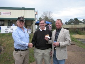 Mayor Paul (Center) and Roger Goodwin (Left) welcomes Bill and Eagle Pest to the Bay