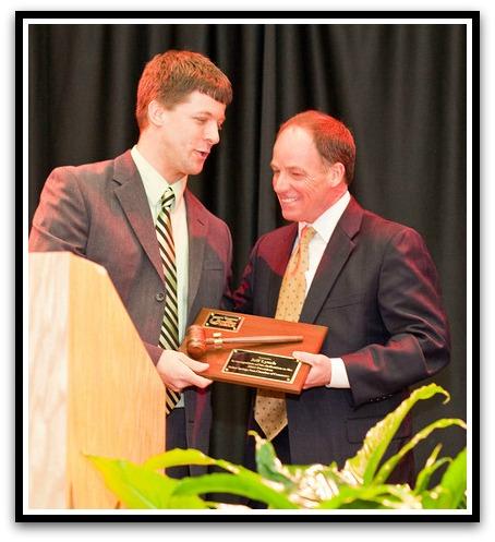 (Above) 2013 Chamber President, Dr. Joe Sugg presents the President's Gavel to 2012 President, Jeff Lynch