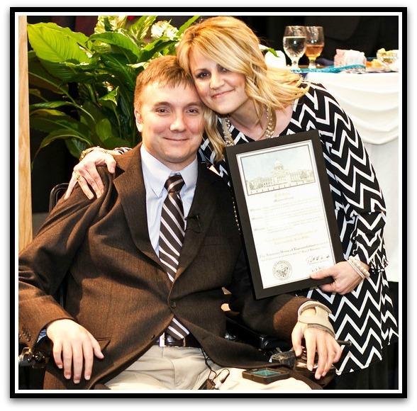 (Above) Distinguished Citizen Award presented by Rep. Josho Miller to Melissa Choate