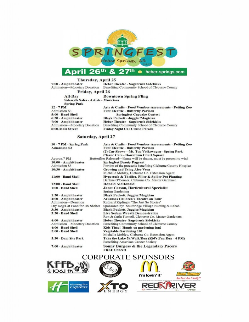 Schedule of Events Springfest