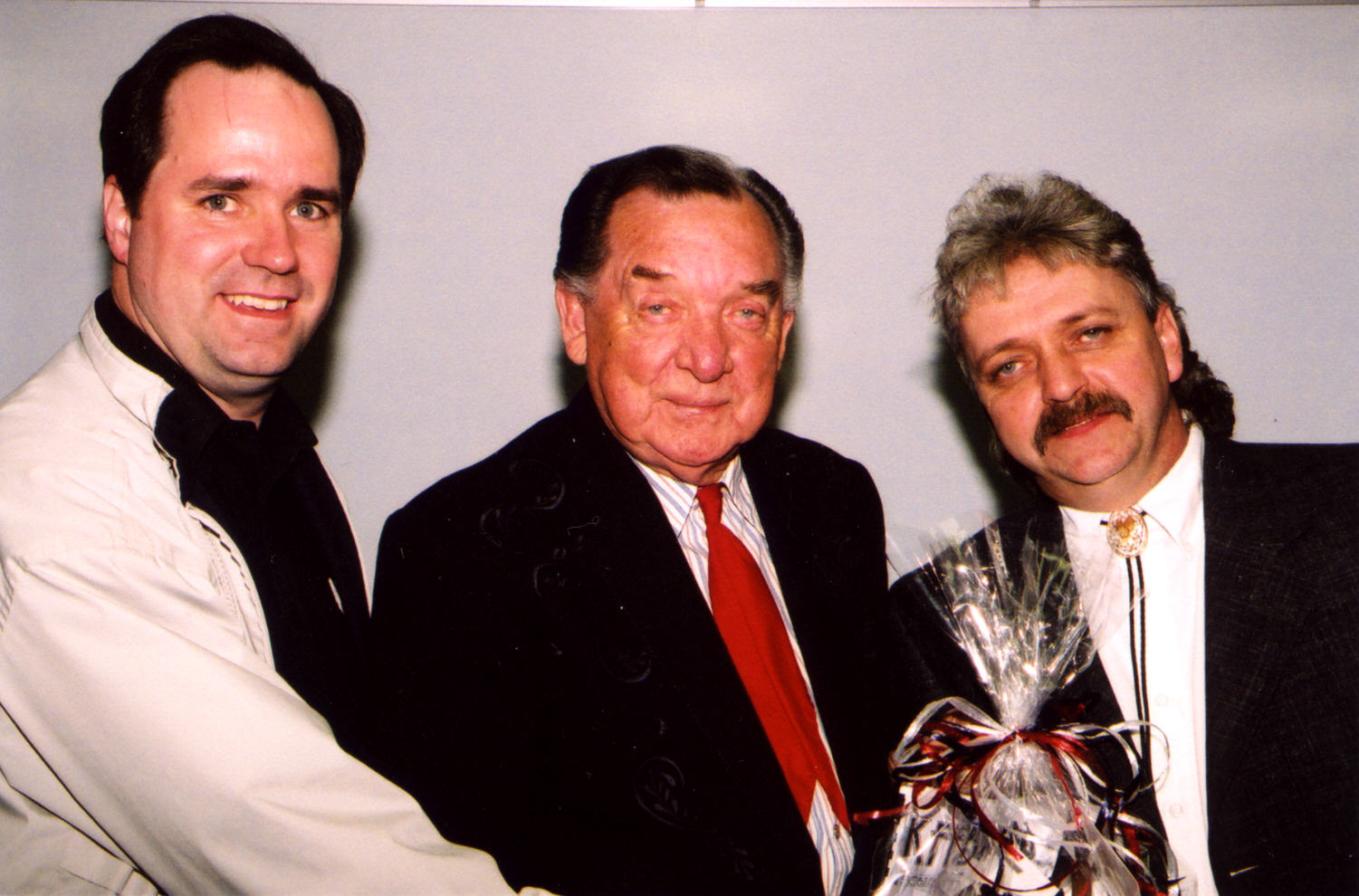 Bob Connell, Ray Price and David Grimes backstage at Melbourne