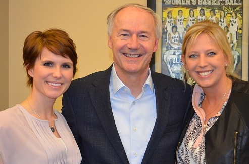 Danell Hetrick (BACC Director of Grant Writing and Communications), Governor Asa Hutchinson, and Crystal Johnson (BACC President/CEO)